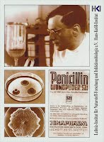 Dises Bild zeigt: Werbeblatt mit Prof.Knöll, Penicillin.